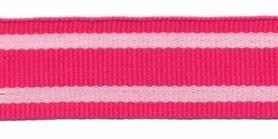 Fuchsia-wit streep grosgrain/ribsband 25 mm (ca. 45 m)