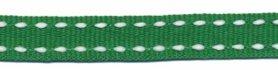 Grasgroen-wit stippel grosgrain/ribsband 10 mm (ca. 25 m)