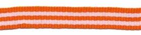 Oranje-wit streep grosgrain/ribsband 10 mm (ca. 25 m)