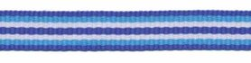 Donker blauw-licht blauw-wit-donker blauw streep grosgrain/ribsband 10 mm (ca. 25 m)