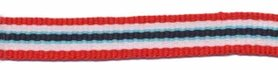 Rood-wit-blauw-donker blauw streep grosgrain/ribsband 10 mm (ca. 25 m)
