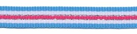 Blauw-wit-zilver-fuchsia streep grosgrain/ribsband 10 mm (ca. 45 m)