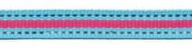 Aqua blauw-zilver-fuchsia streep grosgrain/ribsband 10 mm (ca. 45 m)
