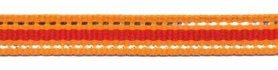 Oranje-zilver-rood streep grosgrain/ribsband 10 mm (ca. 45 m)