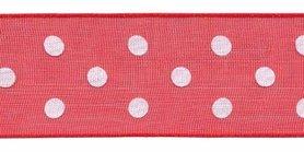 Rood met witte stippen organza lint 25 mm (ca. 45 m)