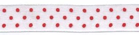 Wit met rode stippen organza lint 13 mm (ca. 45 m)