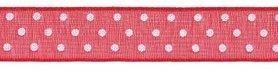 Rood met witte stippen organza lint 13 mm (ca. 45 m)