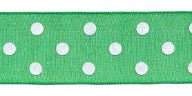 Groen met witte stippen organza lint 25 mm (ca. 45 m)