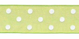 Fel groen met witte stippen organza lint 25 mm (ca. 45 m)