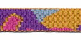 Tassenband 20 mm camouflageprint oranje/roze/paars dubbelzijdig (ca. 5 m)