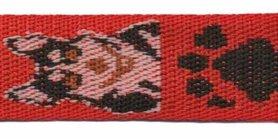 Tassenband 25 mm herder rood/zand/zwart (ca. 5 m)
