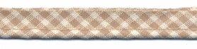 Zand-wit geruit piping-/paspelband STANDAARD - 2 mm koord (ca. 10 meter)