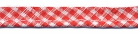 Rood-wit geruit piping-/paspelband STANDAARD - 2 mm koord (ca. 10 meter)