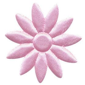 Applicatie bloem licht roze met puntige blaadjes effen satijn groot 48 mm (ca. 100 stuks)