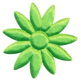 Applicatie bloem NEON groen met puntige blaadjes effen satijn groot 48 mm (ca. 100 stuks)
