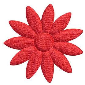 Applicatie bloem rood met puntige blaadjes effen satijn groot 48 mm (ca. 100 stuks)