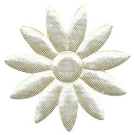 Applicatie bloem ivoor met puntige blaadjes effen satijn groot 48 mm (ca. 100 stuks)