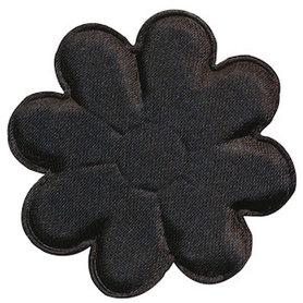Applicatie bloem zwart satijn effen groot 50 mm (ca. 100 stuks)