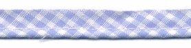 Licht blauw-wit geruit piping-/paspelband STANDAARD - 2 mm koord (ca. 10 meter)