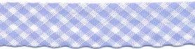 Licht blauw-wit geruit biaisband 13 mm (ca. 10 meter)