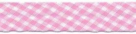 Roze-wit geruit biaisband 13 mm (ca. 10 meter)