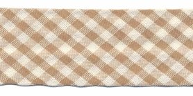 Zand-wit geruit biaisband 25 mm (ca. 10 meter)