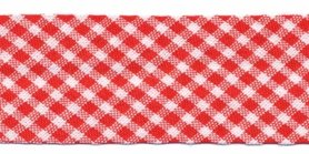 Rood-wit geruit biaisband 25 mm (ca. 10 meter)