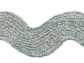 Zilverkleurig zig-zag band 25 mm (ca. 16 meter)
