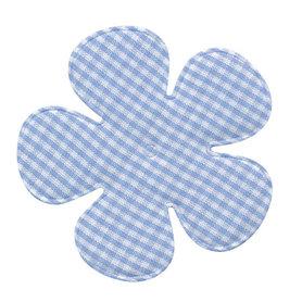Applicatie geruite bloem blauw-wit EXTRA GROOT 65 mm (ca. 100 stuks)