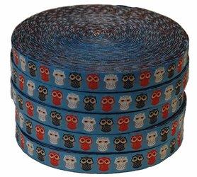 Blauw uiltjes sierband 15 mm (ca. 22 m)