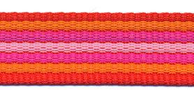 Tassenband 25 mm streep rood/oranje/fuchsia/roze EXTRA STEVIG (ca. 5 m)