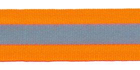 Fluoriserend oranje grosgrainband met reflectiestreep 25 mm (ca. 10 meter)