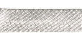 Zilverkleurig gevouwen biaisband 13 mm (ca. 10 meter)