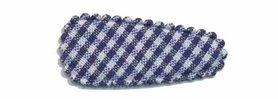 Haarknip met haarkniphoesje donker blauw-wit geruit 3 cm (ca. 100 stuks)