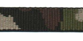 Tassenband 20 mm camouflageprint zwart/bruin/groen dubbelzijdig (ca. 5 m)