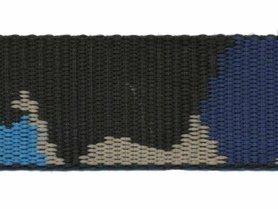 Tassenband 30 mm camouflageprint zwart/blauw/zand dubbelzijdig (ca. 5 m)