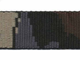 Tassenband 30 mm camouflageprint zwart/grijs/bruin/zand dubbelzijdig (ca. 5 m)