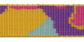 Tassenband 25 mm camouflageprint oranje/roze/paars dubbelzijdig (ca. 5 m)