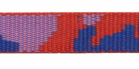 Tassenband 20 mm camouflageprint rood/kobalt blauw/lila dubbelzijdig (ca. 5 m)