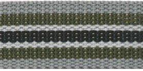 Tassenband 30 mm streep grijs/legergroen/wit/zwart (ca. 5 m)