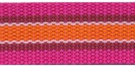 Tassenband 30 mm streep fuchsia/wit/oranje (ca. 5 m)