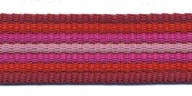 Tassenband 25 mm streep bordeaux/rood/fuchsia/roze EXTRA STEVIG (ca. 5 m)