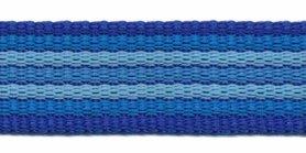 Tassenband 25 mm streep kobalt blauw/blauw/licht blauw EXTRA STEVIG (ca. 5 m)