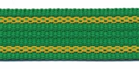 Tassenband 25 mm streep groen/geel EXTRA STEVIG (ca. 5 m)