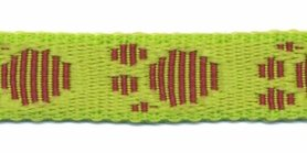 Tassenband 20 mm pootje felgroen/bordeaux (ca. 5 m)