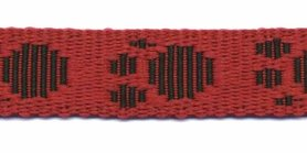 Tassenband 20 mm pootje rood/zwart (ca. 5 m)