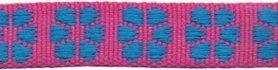 TUNNELband 15 mm bloem roze/blauw (ca. 5 m)