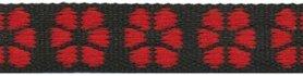 TUNNELband 15 mm bloem zwart/rood (ca. 5 m)