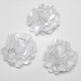 Bloem stof wit ca. 5 cm (5 stuks)