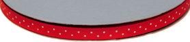 Rood dubbelzijdig satijnband met witte stippen 7 mm (ca. 30 m)